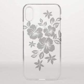 Coque iPhone X Argent floral hawaïen de ketmie de Lilikoi