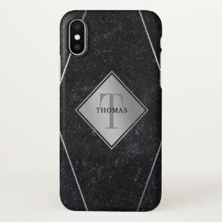 Coque iPhone X Argent masculin de granit de noir de monogramme
