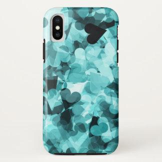 Coque iPhone X Arrière - plan doux de coeurs de Kawaii de bleus