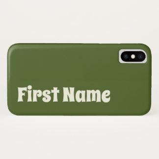 Coque iPhone X Arrière - plan foncé de vert olive avec le nom