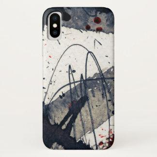 Coque iPhone X Arrière - plan grunge abstrait, texture d'encre
