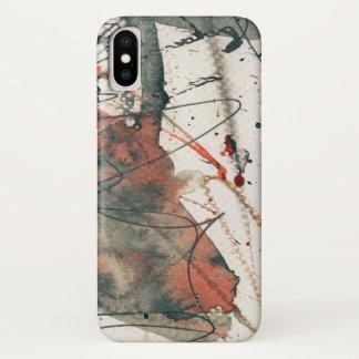 Coque iPhone X Arrière - plan grunge abstrait, texture d'encre. 5