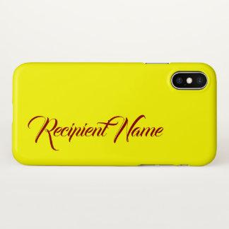 Coque iPhone X Arrière - plan jaune minimaliste avec le nom rouge
