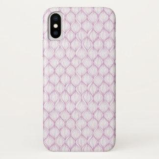 Coque iPhone X Arrière - plan pourpre de motif de rayures d'ogee