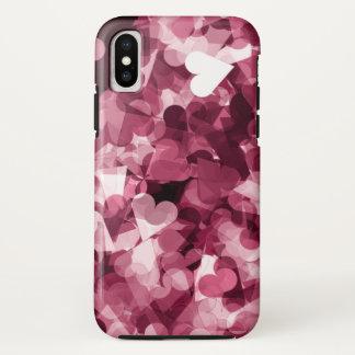 Coque iPhone X Arrière - plan rose doux de coeurs de Kawaii