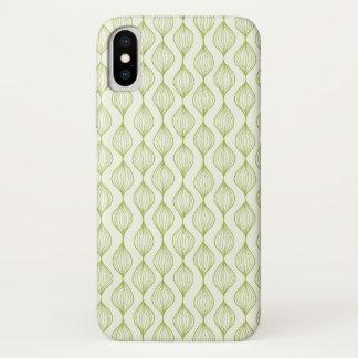 Coque iPhone X Arrière - plan vertical vert de motif d'ogee