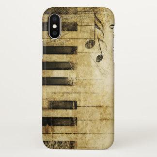 Coque iPhone X art abstrait de piano vintage de musique