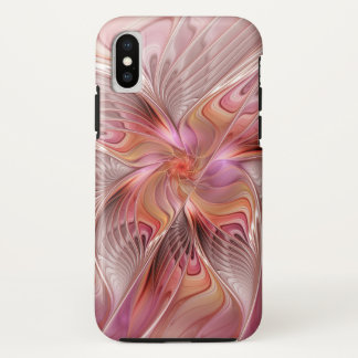 Coque iPhone X Art coloré de fractale d'imaginaire de papillon