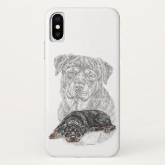 Coque iPhone X Art de chien de rottweiler
