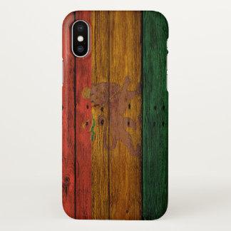 Coque iPhone X art en bois de musique de lion de drapeau de rasta