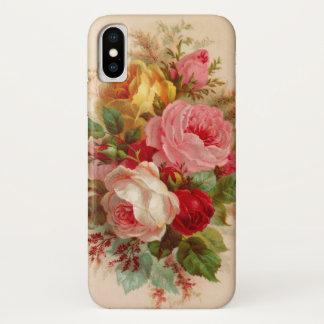 Coque iPhone X Art rose de cru de bouquet de stupéfaction