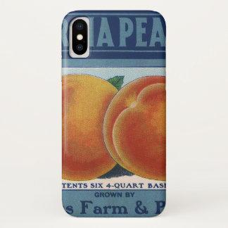 Coque iPhone X Art vintage d'étiquette de caisse de fruit, pêches