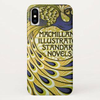 Coque iPhone X Art vintage Nouveau, plume du paon de Macmillan