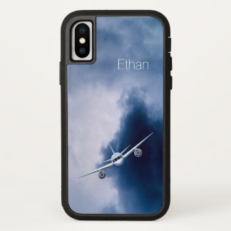 Coque iPhone X Avion à réaction bleu dans l'aviation Xtreme de