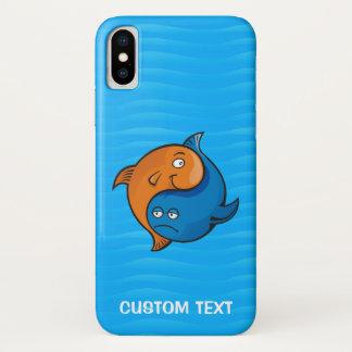 Coque iPhone X Bande dessinée de poissons de Yin Yang