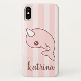 Coque iPhone X Bande dessinée rose mignonne Narwhal avec des