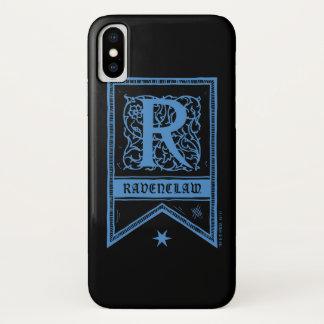 Coque iPhone X Bannière de monogramme de Harry Potter | Ravenclaw