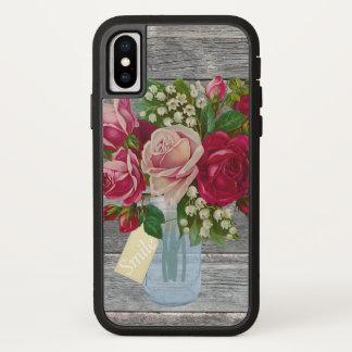 Coque iPhone X Barnwood et roses dans l'étiquette de sourire de