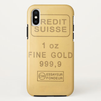 Coque iPhone X Barre d'or suisse