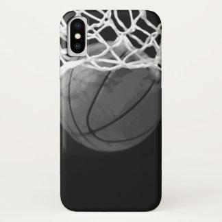 Coque iPhone X Basket-ball noir et blanc