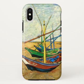 Coque iPhone X Bateaux de pêche de Van Gogh sur la plage chez