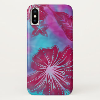 Coque iPhone X Batik de fleur de Bali tropical