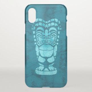 Coque iPhone X Batik riant hawaïen Teal de Tiki de plage de