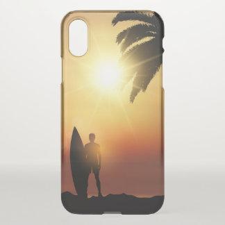 Coque iPhone X Beau cas tropical de l'iPhone X de surfer de