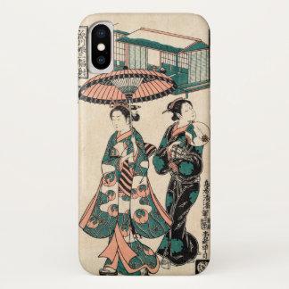 Coque iPhone X Beautés de Fukagawa (copie vintage de Japonais)