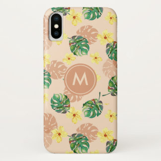 Coque iPhone X Beautiful tropical floral design.