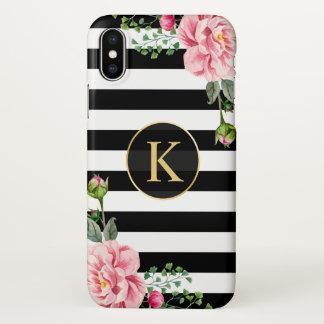 Coque iPhone X Blanc floral Girly de noir de monogramme barré
