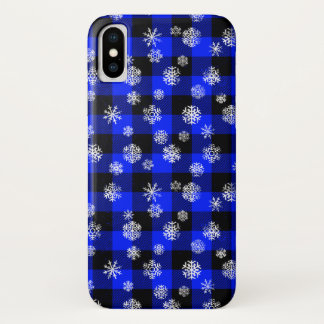 Coque iPhone X Bleu de plaid de Buffalo de flocon de neige