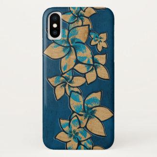 Coque iPhone X Bleu en bois de Faux hawaïen de Plumeria de Melia
