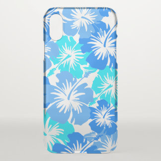 Coque iPhone X Bleu floral hawaïen de ketmie épique Aloha -