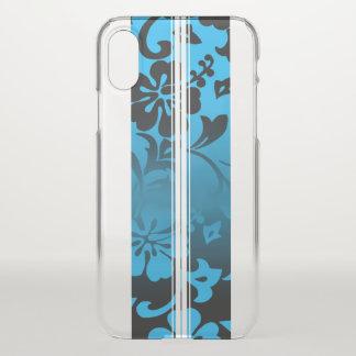 Coque iPhone X Bleu hawaïen de planche de surf de ketmie de plage