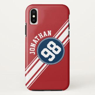 Coque iPhone X Bleu marine du Jersey de sports et nombre nommé de