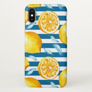 Coque iPhone X Bleu marine et blanc jaune de citrons barrés