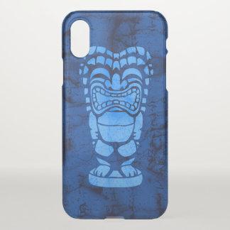 Coque iPhone X Bleu riant hawaïen de batik de Tiki de plage de