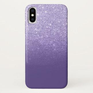 Coque iPhone X Bloc pourpre de couleur d'ombre ultra-violet de