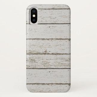 Coque iPhone X bois blanchi de grange de pays occidental de ferme