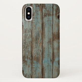 Coque iPhone X bois bleu primitif de grange de pays occidental de