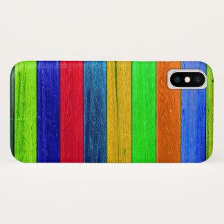 Coque iPhone X Bois dur coloré rustique chic