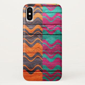 Coque iPhone X Bois en pastel abstrait moderne