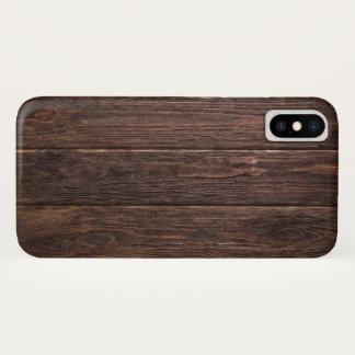 Coque iPhone X Bois foncé de noix