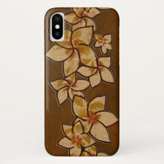 Coque iPhone X Bois hawaïen de Faux de Plumeria de Melia