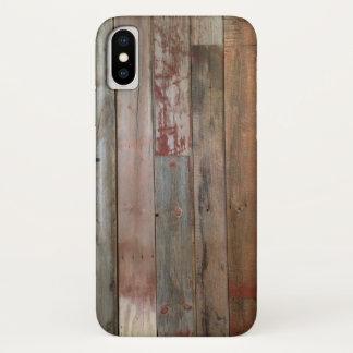 Coque iPhone X bois primitif de grange de pays occidental de