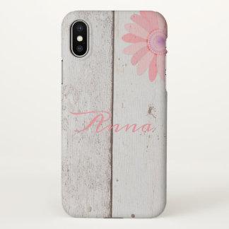 Coque iPhone X Bois rustique avec la coutume rose de fleur