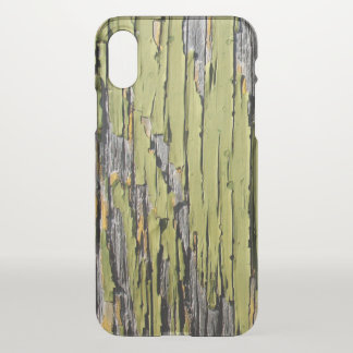 Coque iPhone X Bois vert criqué et patiné usé de grange