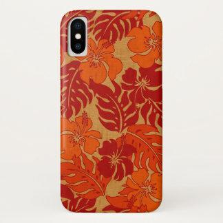 Coque iPhone X Bois vintage de Faux de ketmie hawaïenne de baie
