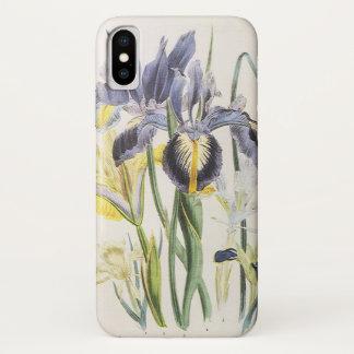 Coque iPhone X Botanique florale vintage, fleurs d'iris de jardin